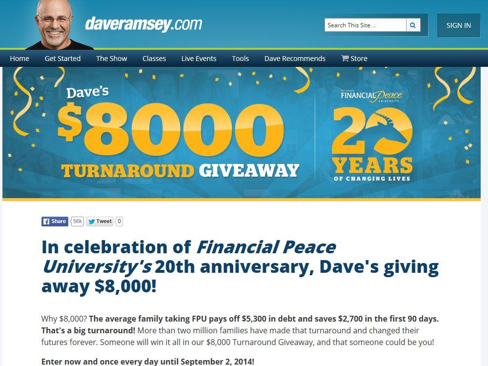 DaveRamsey.com $8000 Turnaround Giveaway