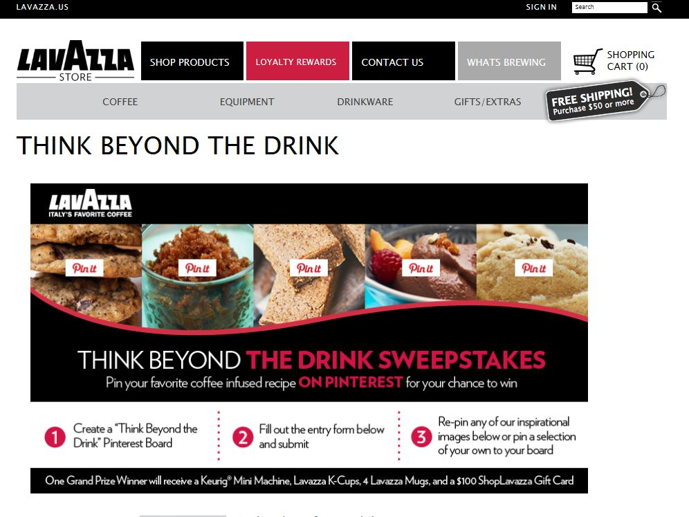 Lavazza 'Think Beyond the Drink' Sweepstakes