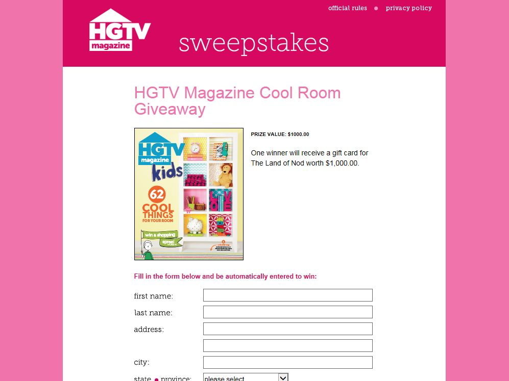 HGTV Magazine Cool Room Sweepstakes