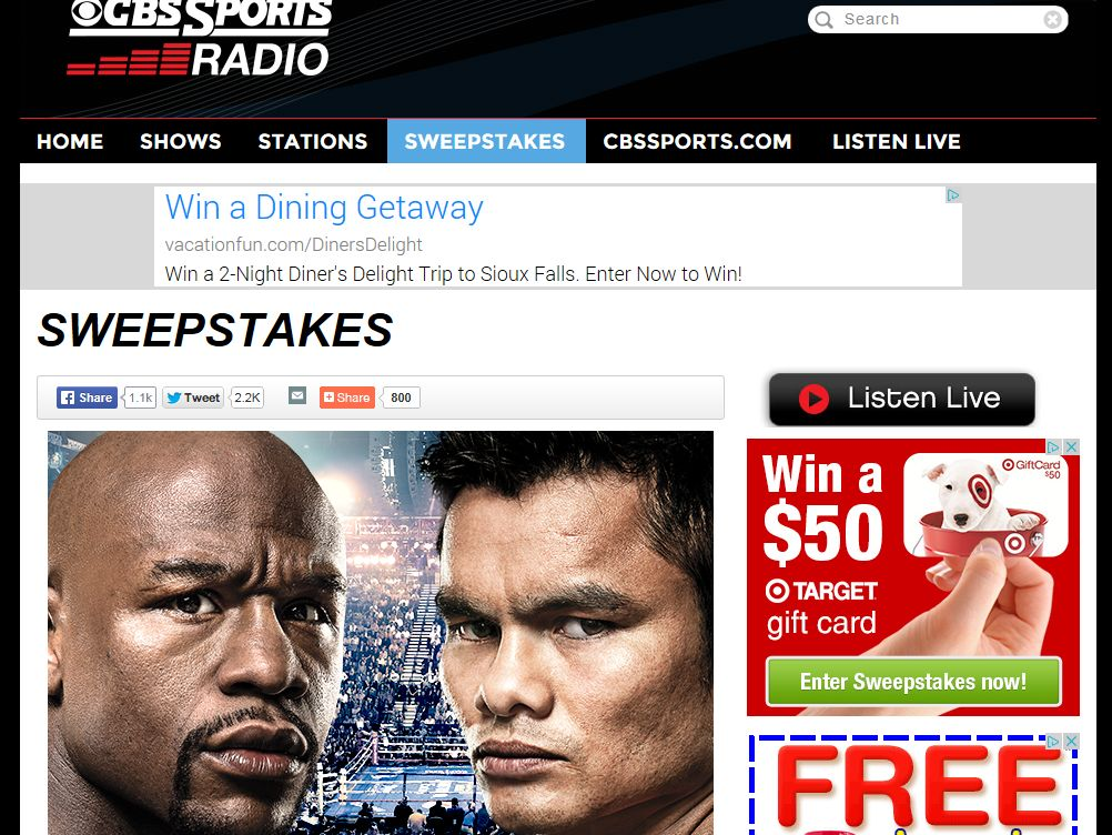CBS Sports Radio Mayhem: Mayweather vs. Maidana Sweepstakes