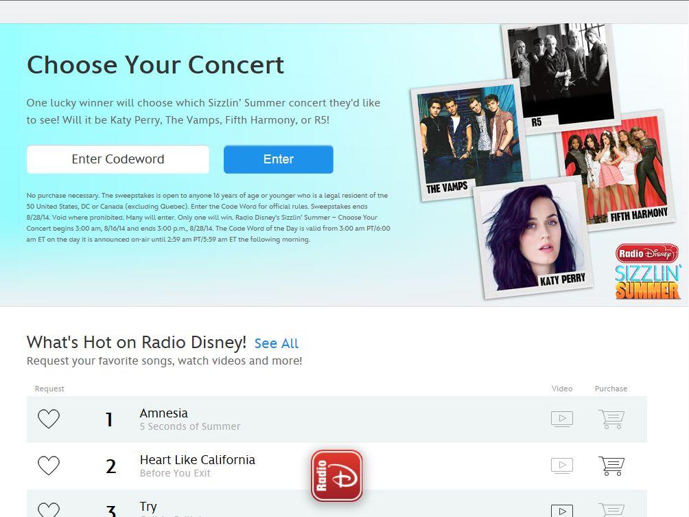 RadioDisney Choose Your Concert Sweepstakes