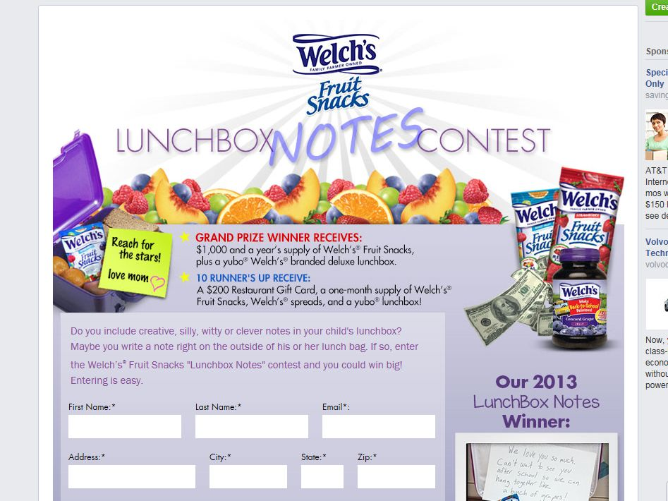 """Welch's Fruit Snacks """"Lunchbox Notes"""" Contest"""
