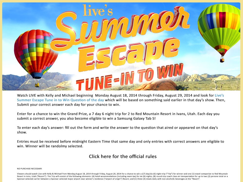 LIVE's Summer Escape Tune-in-to-Win Sweepstakes