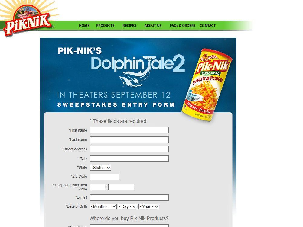 "PIK-NIK's ""Dolphin Tale 2"" Sweepstakes"