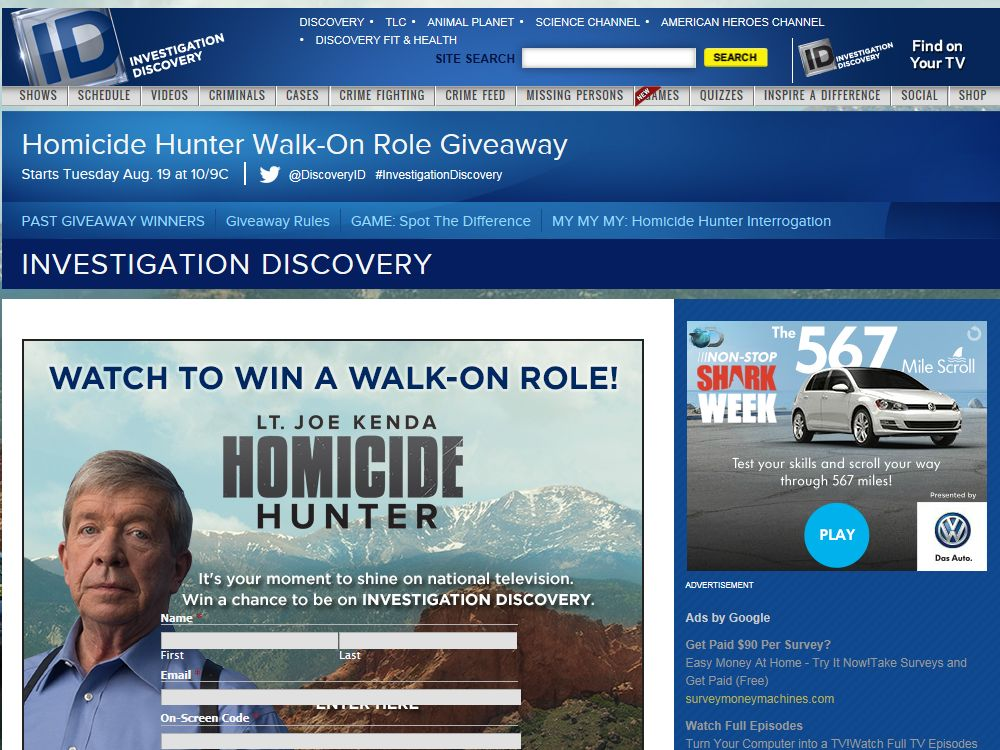 Investigation Discovery Watch to Win a Walk-On Role Sweepstakes