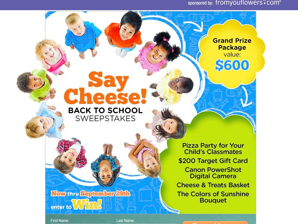 From You Flowers Say Cheese! Back to School Sweepstakes