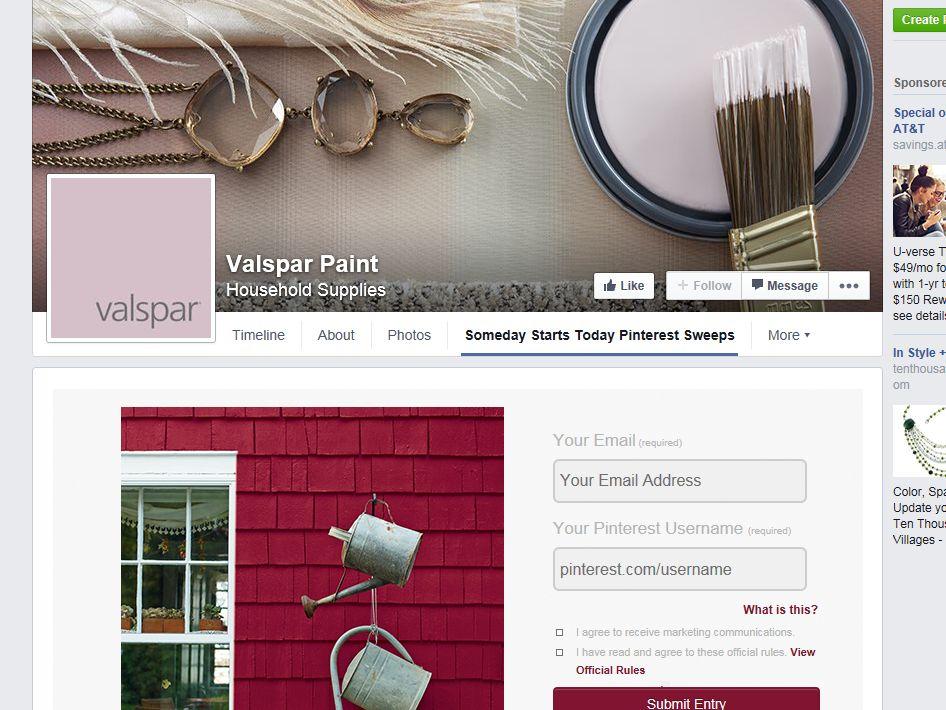 Valspar Someday Starts Today Pinterest Sweepstakes