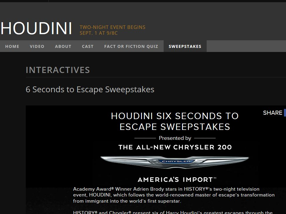 History Channel Houdini Six Seconds to Escape Giveaway