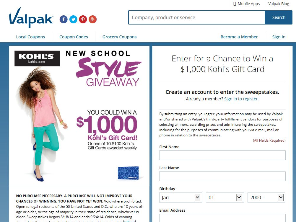 Valpak Kohl's Gift Card Giveaway Sweepstakes