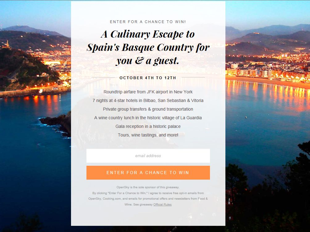 Culinary Escape to Spain's Basque Country Sweepstakes