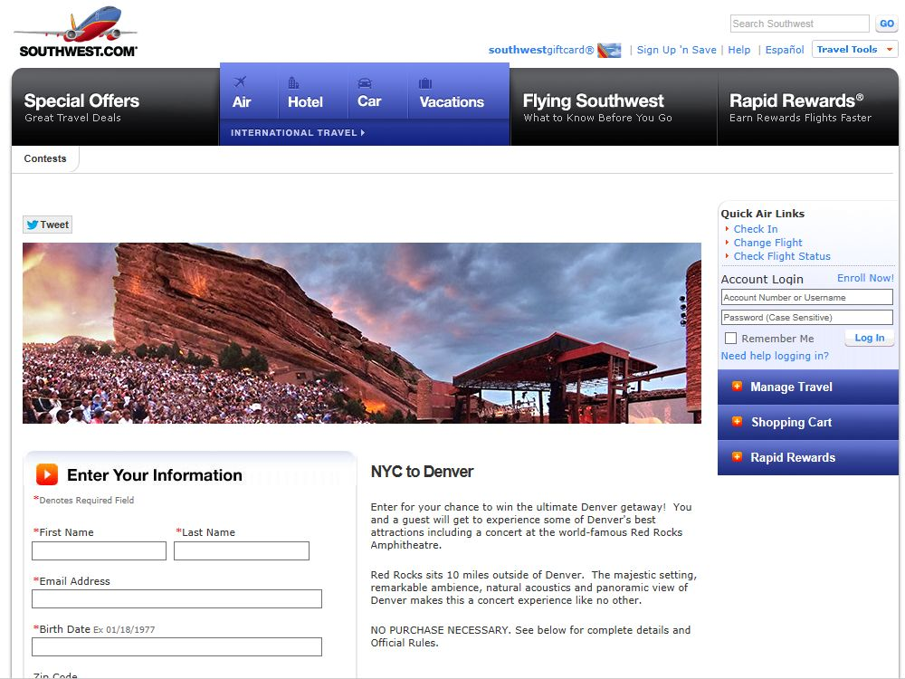 """Southwest """"Rockefeller to Red Rocks"""" Sweepstakes"""