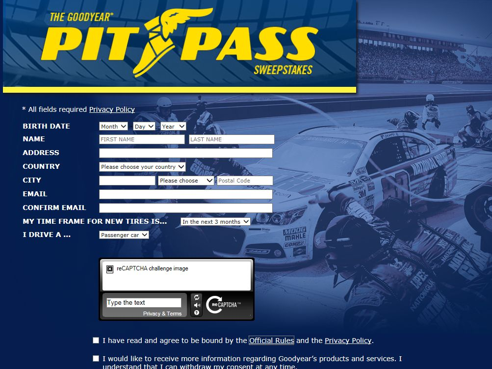 The Goodyear Pit Pass Sweepstakes
