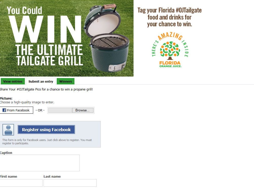 Florida Department of Citrus Facebook Fan Page Sweepstakes