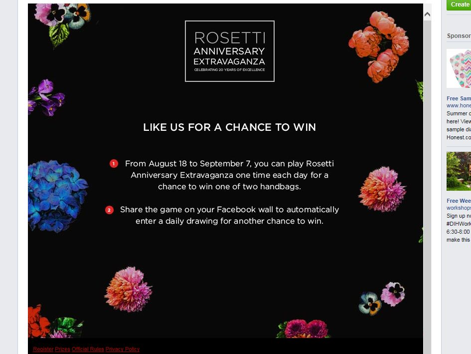 Rosetti Anniversary Extravaganza Sweepstakes