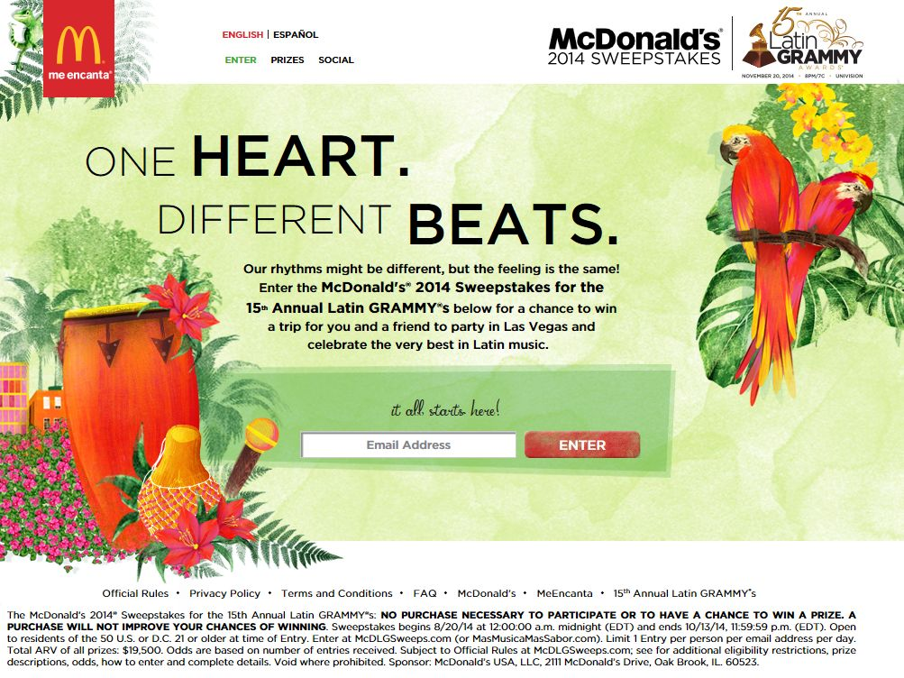 McDonald's 2014 15th Annual Latin GRAMMY's Sweepstakes