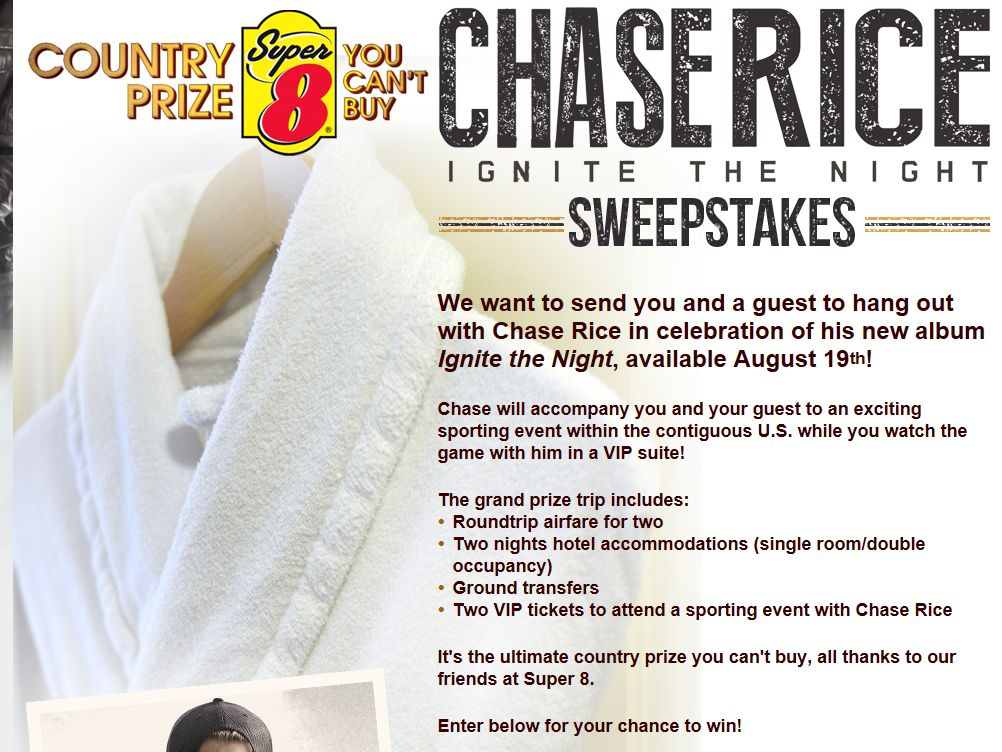 Chase Rice Ignite the Night Country Prize You Can't Buy Sweepstakes
