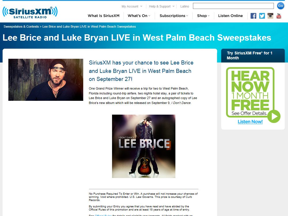 Lee Brice and Luke Bryan LIVE in West Palm Beach SiriusXM Sweepstakes