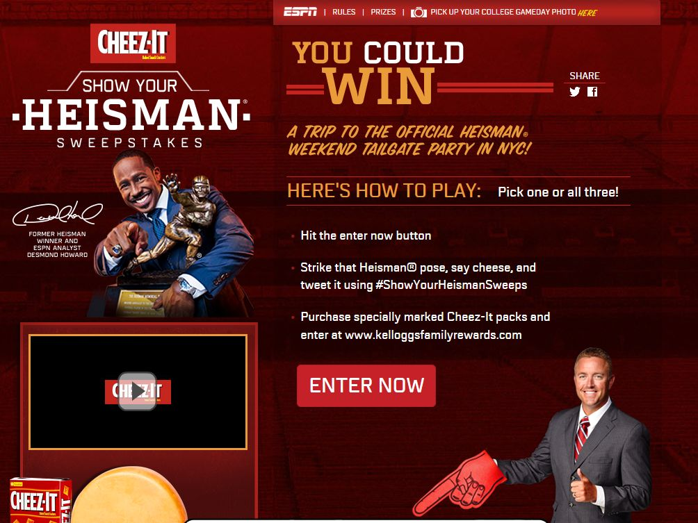Kellogg's Heisman Weekend Tailgate Party Sweepstakes