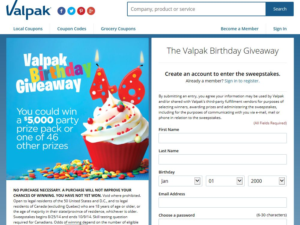 The Valpak Birthday Giveaway