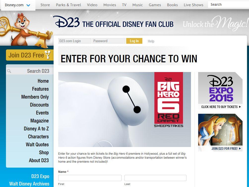 D23 Big Hero 6 Red Carpet Sweepstakes