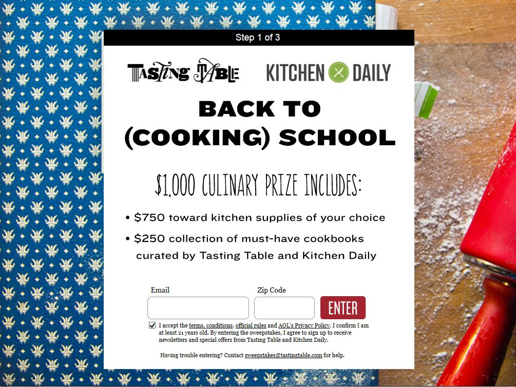 Tasting Table 2014 Back to (Cooking) School Sweepstakes