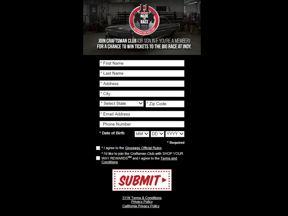 Craftsman Made To Race 2014 Restoration Roll-Out Sweepstakes
