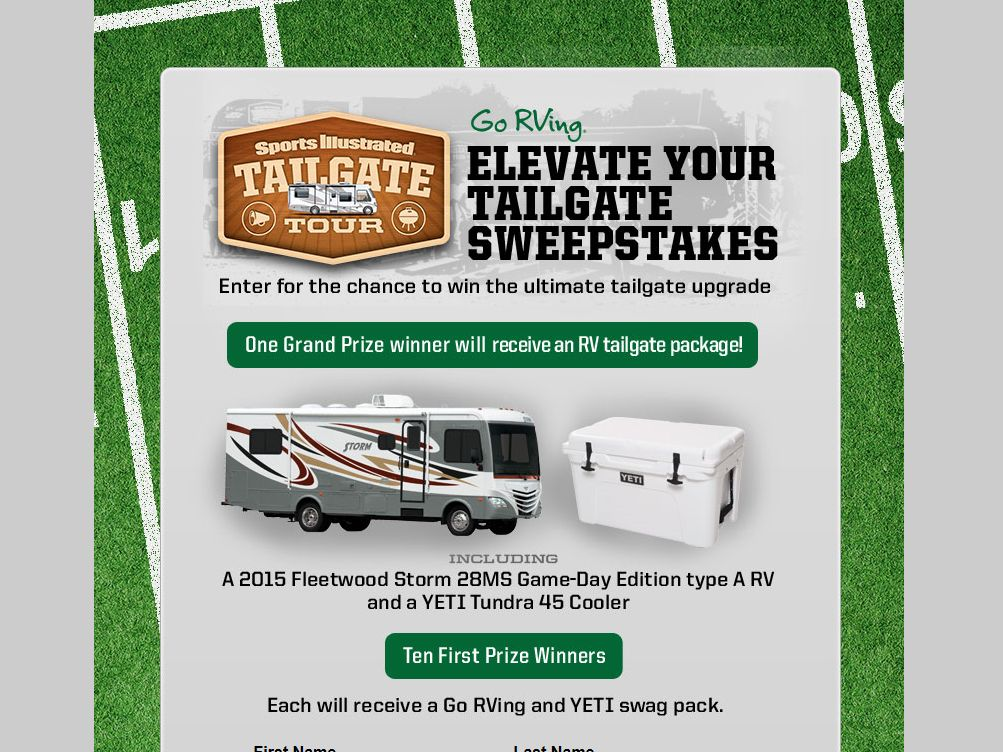 """Sports Illustrated """"Go RVing Elevate Your Tailgate"""" Sweepstakes"""