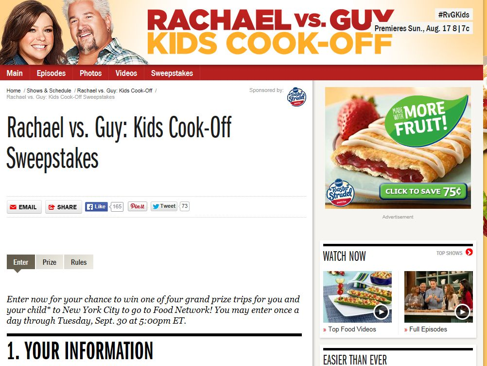 Rachael vs. Guy: Kids Cook-Off Sweepstakes
