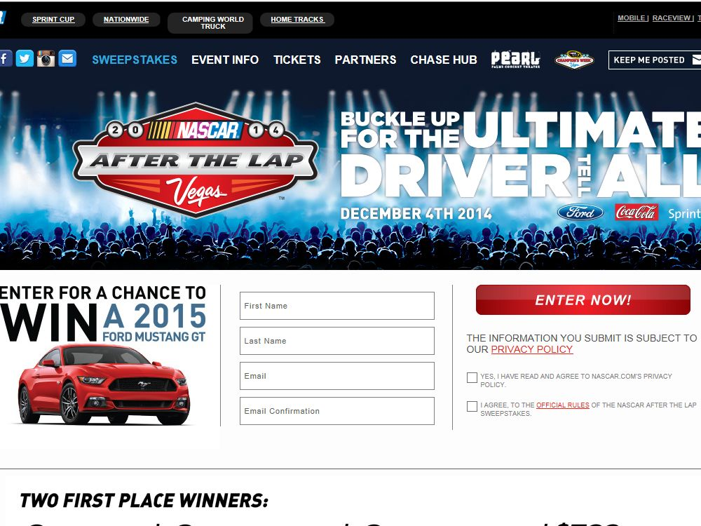 """The """"NASCAR After the Lap"""" Sweepstakes"""
