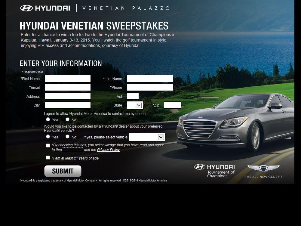 2014 Hyundai Venetian Sweepstakes