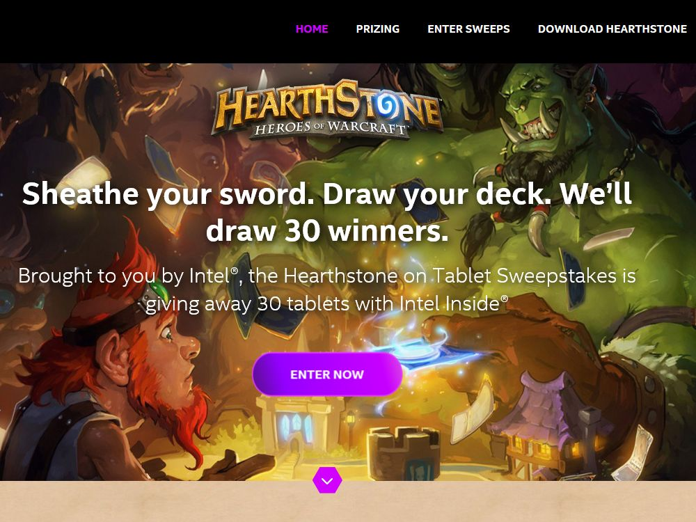 The Hearthstone on Tablet Sweepstakes