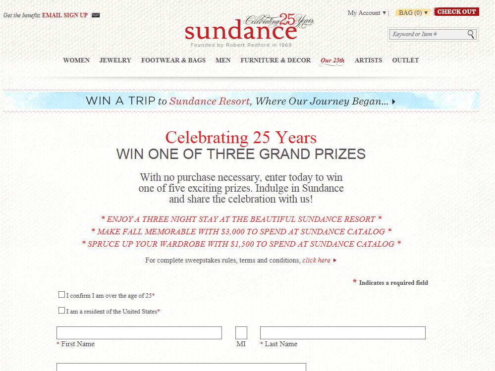 SUNDANCE Fall 25th Anniversary Sweepstakes