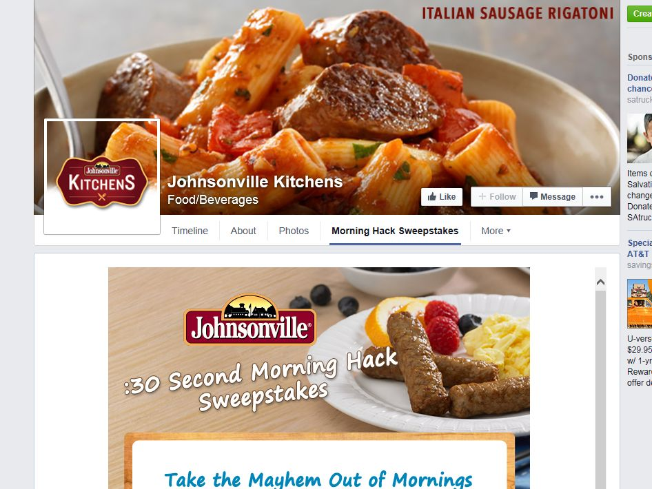 Johnsonville :30 Second Morning Hack Sweepstakes