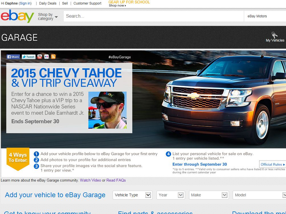 eBay Garage Dale Earnhardt Jr. Sweepstakes