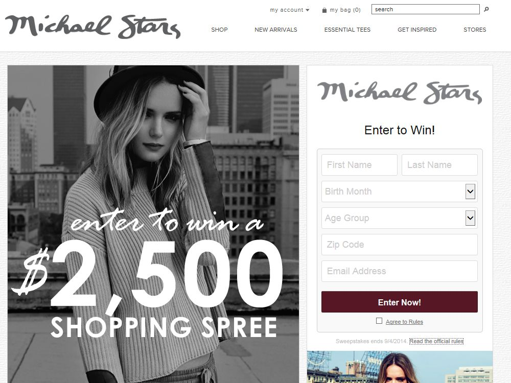 Michael Stars $2,500 Spring Shopping Spree Sweepstakes