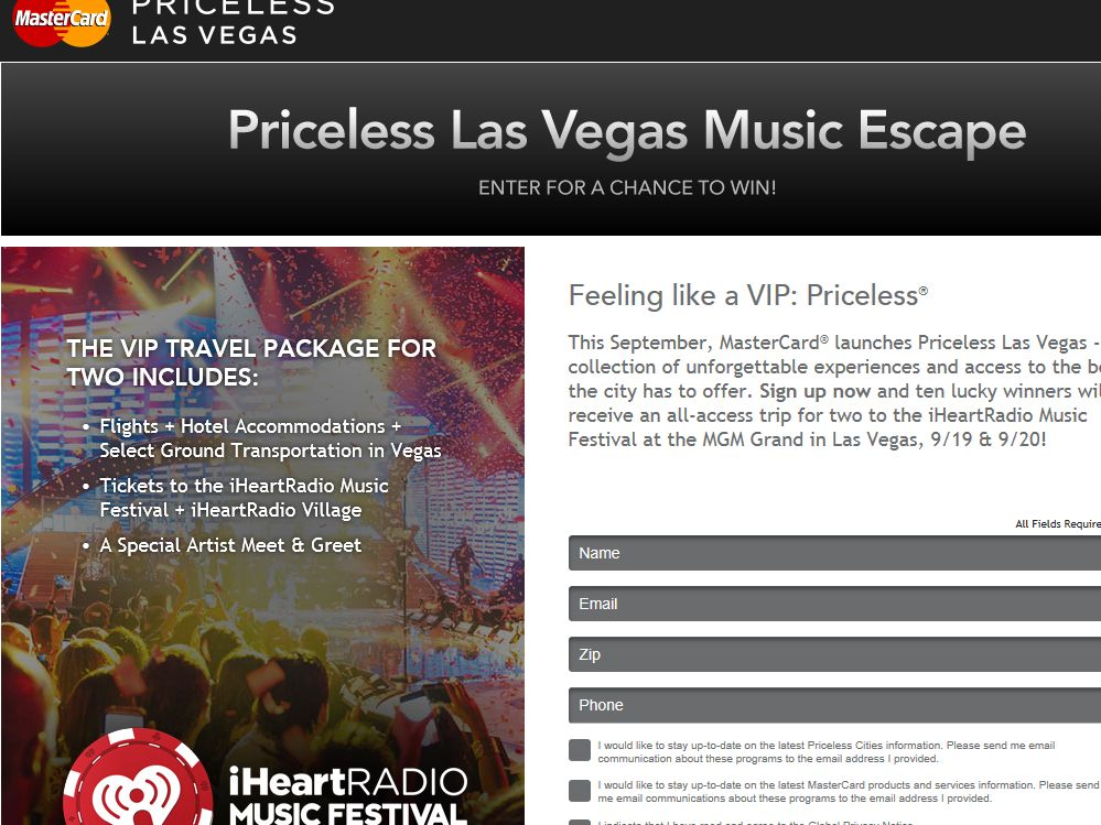 MasterCard Priceless Las Vegas Music Escape Sweepstakes