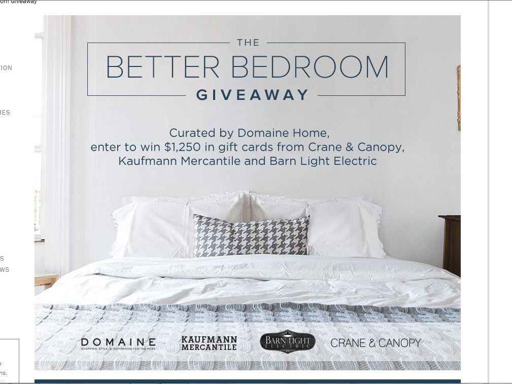 Crane & Canopy Better Bedroom Sweepstakes