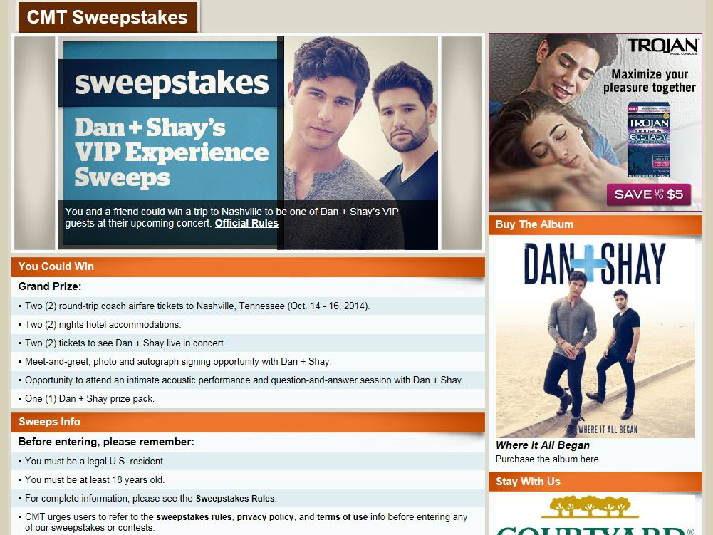 CMT Dan + Shay's VIP Experience Sweepstakes