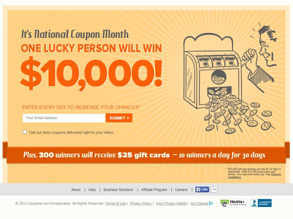 Coupons.com September National Coupon Month Sweepstakes