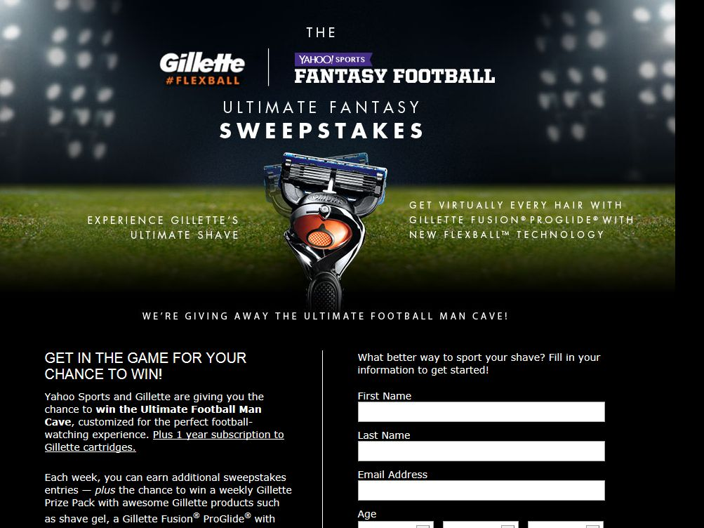 Gillette Flexball The Ultimate Fantasy Sweepstakes