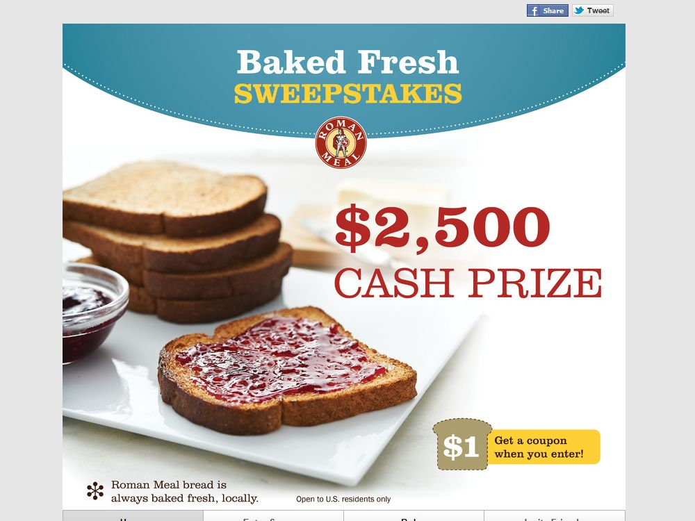Roman Meal Company Baked Fresh Sweepstakes
