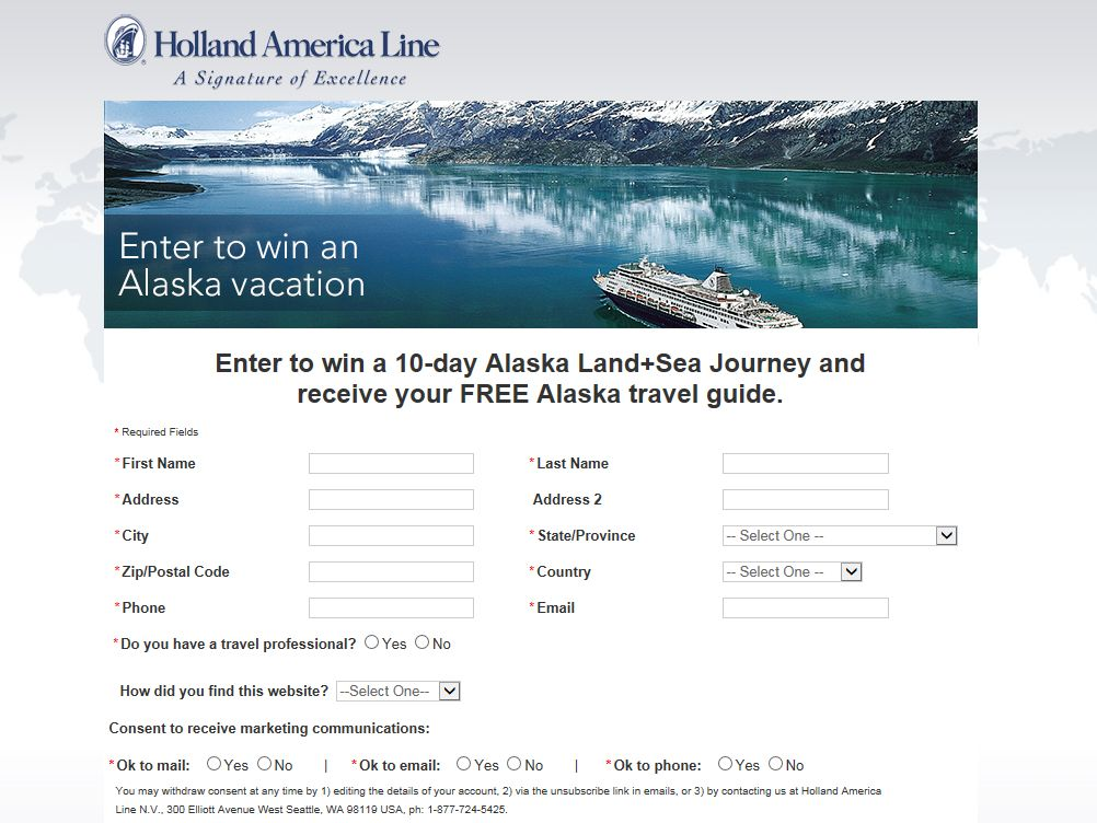 Holland America Line 10-day Alaska Land+Sea Journey for Two Sweepstakes