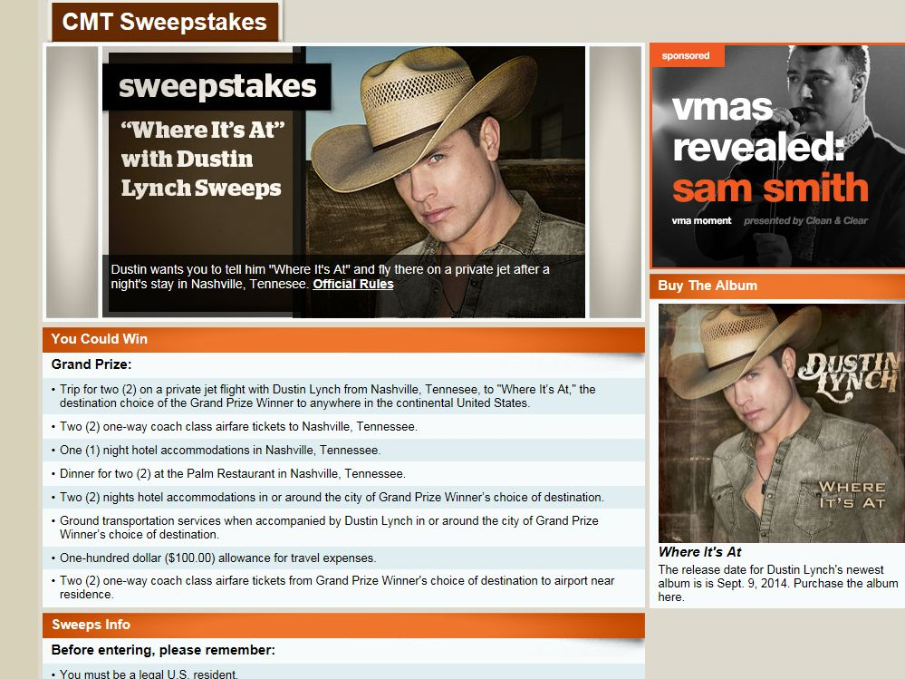 "CMT ""Where It's At"" with Dustin Lynch Sweepstakes"
