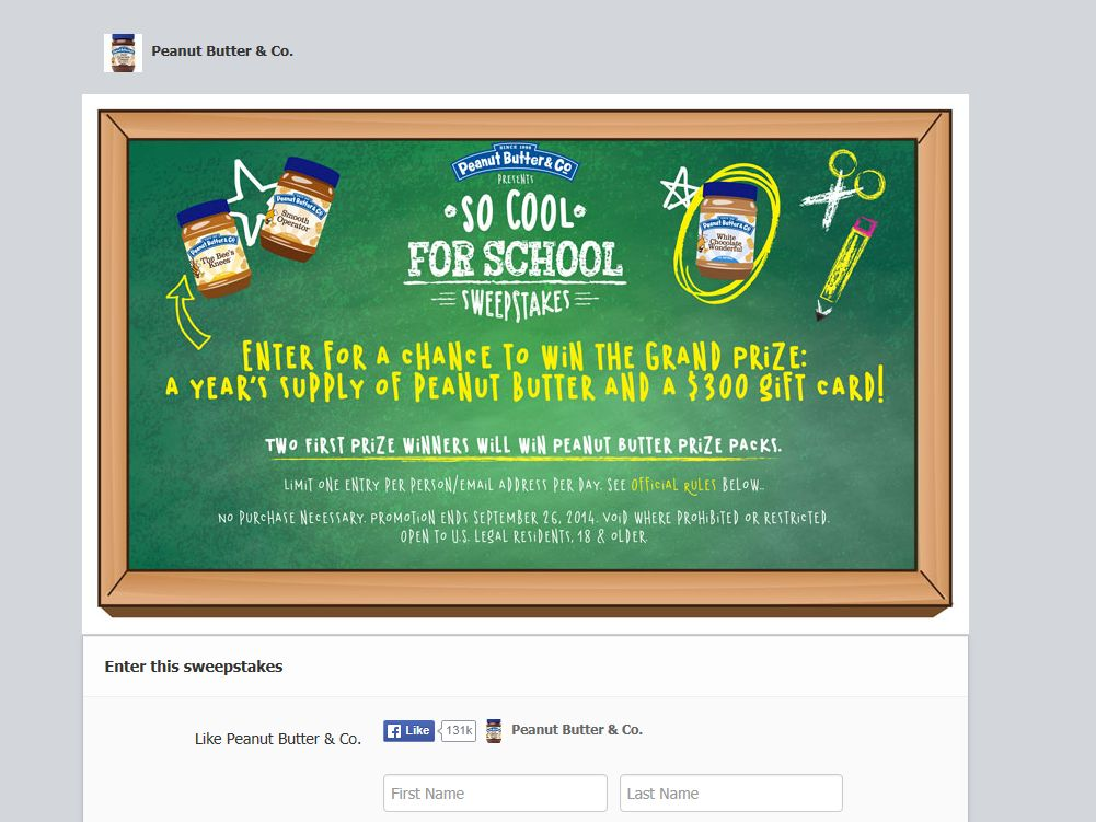 Peanut Butter & Co. So Cool for School Sweepstakes