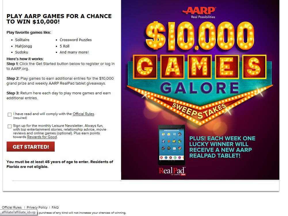 AARP $10,000 Games Galore Sweepstakes Sweepstakes
