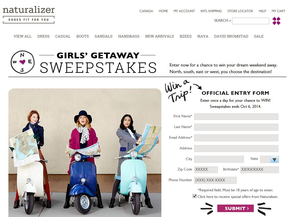 Naturalizer Girls' Getaway Sweepstakes