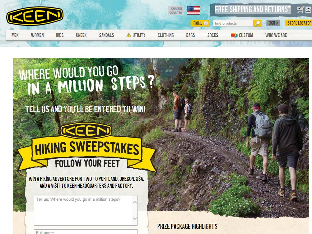 """The """"KEEN Hiking"""" Sweepstakes"""