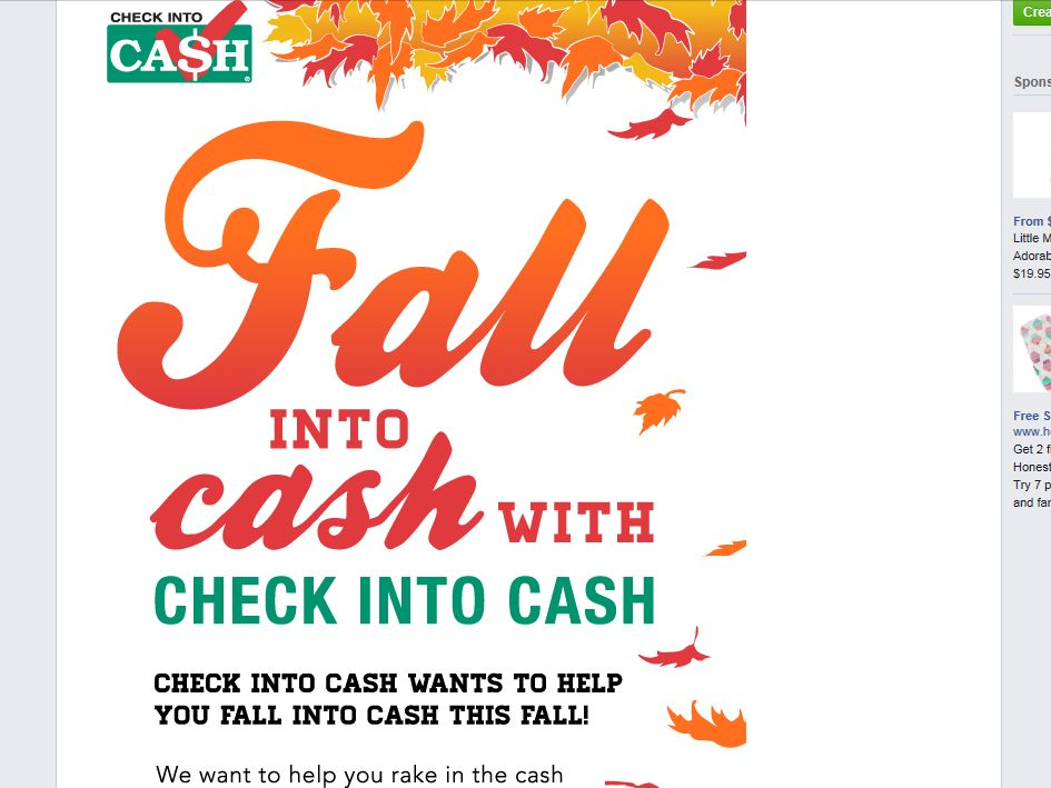 Check Into Cash Fall Into Cash Giveaway