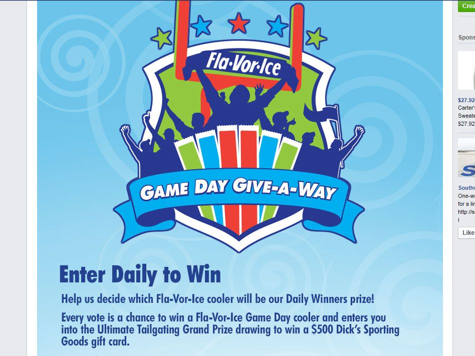 "Fla-Vor-Ice ""Game Day Give-Away"" Sweepstakes"