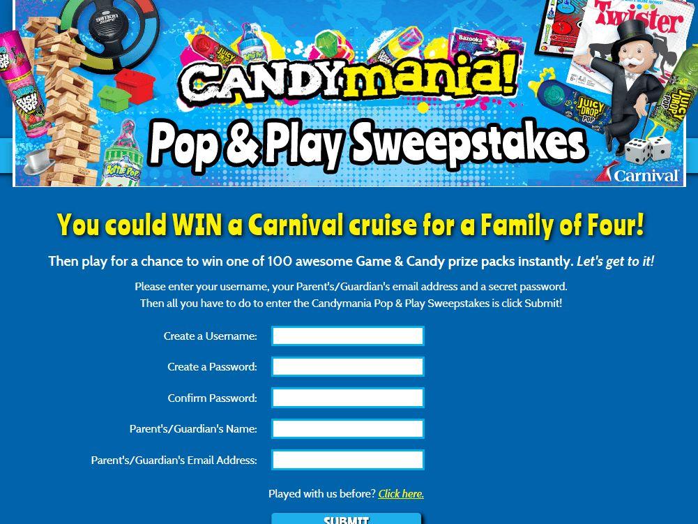 CandyMania Pop & Play Sweepstakes